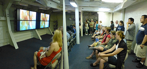 USS IOWA  Theater showing history of the battleship, and a virtual reality battle of the coast of Okinawa